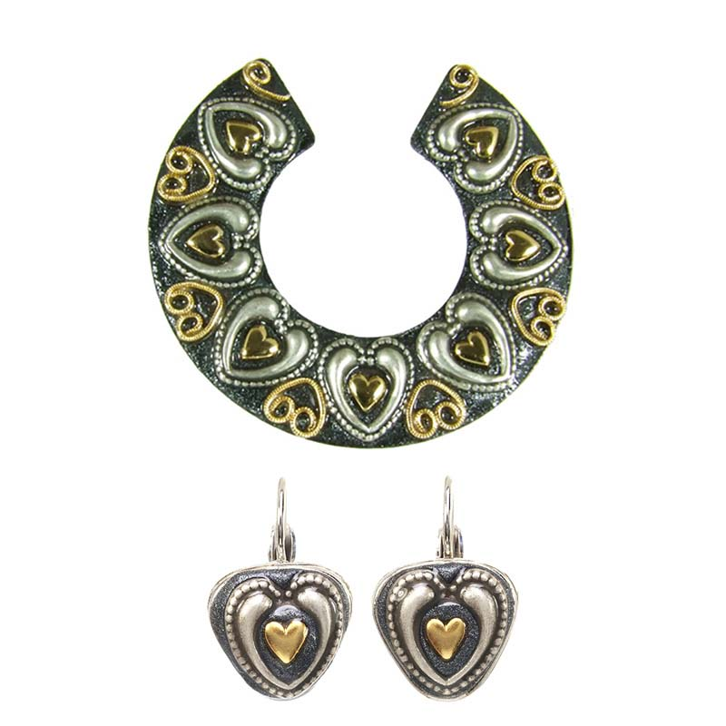 Mixed Metal Heart Earrings and Brooch Set