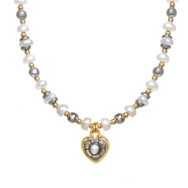 Tiny Beaded Gold and Pearl Heart Necklace
