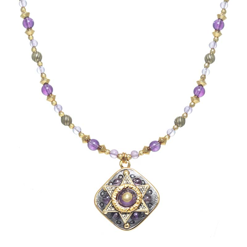 Purple Star of David Diamond Necklace