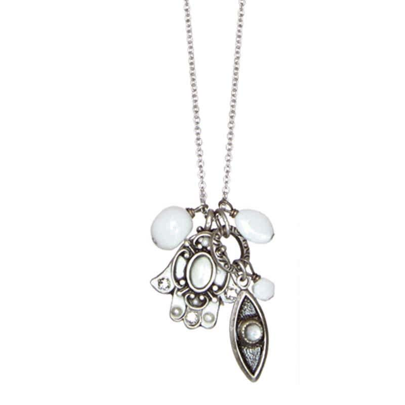 Mother of Pearl Hamsa Charm Necklace