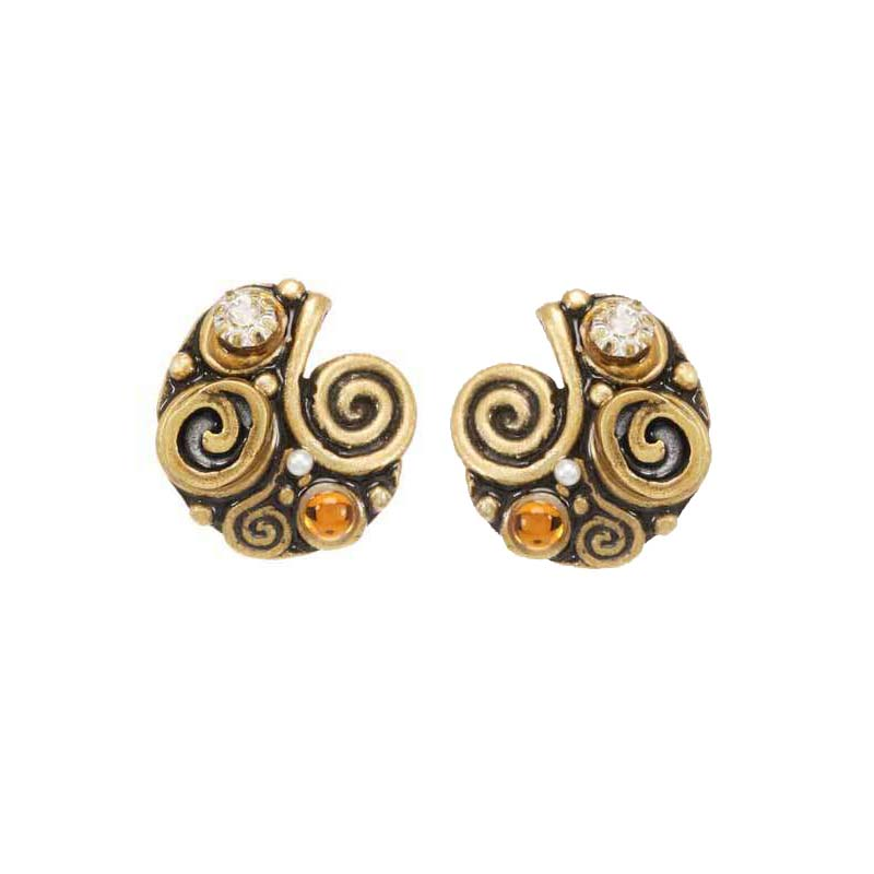 Champagne Half Swirl Earrings
