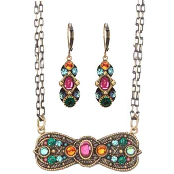 Prismatic Oval Necklace and Earrings Set
