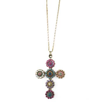 Pastel Floral Crystal Cross Necklace