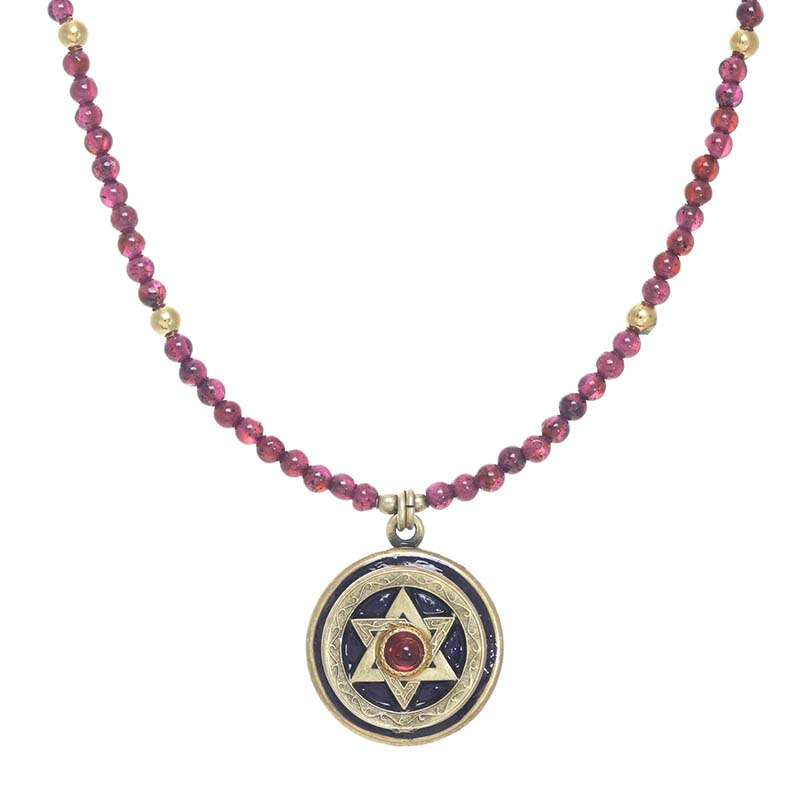 Garnet Star of David Beaded Necklace