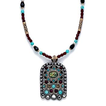 Abalone and Turquoise Beaded Hamsa Necklace