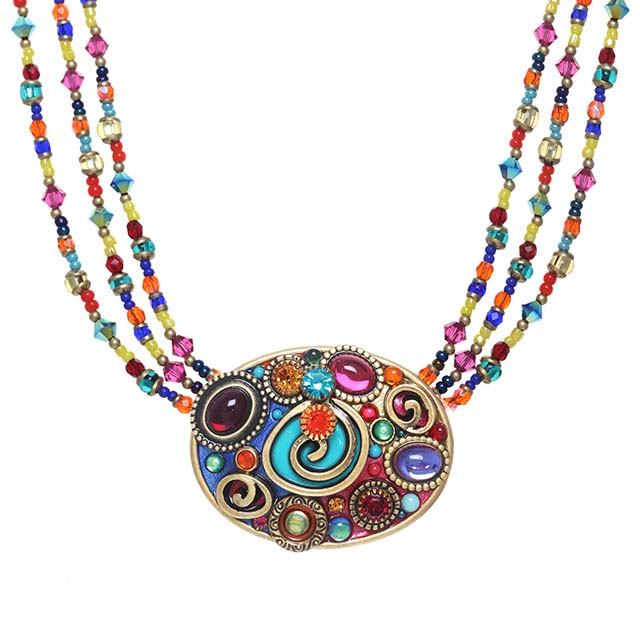 Confetti Triple Beaded Oval Statement Necklace