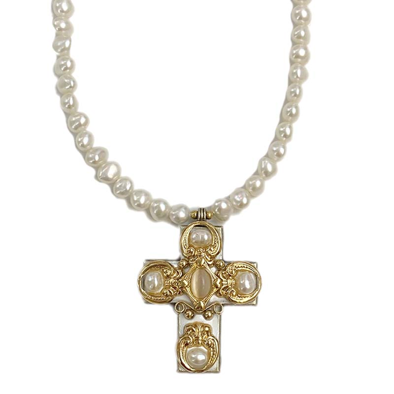 Ornate Pearl Beaded Cross Necklace