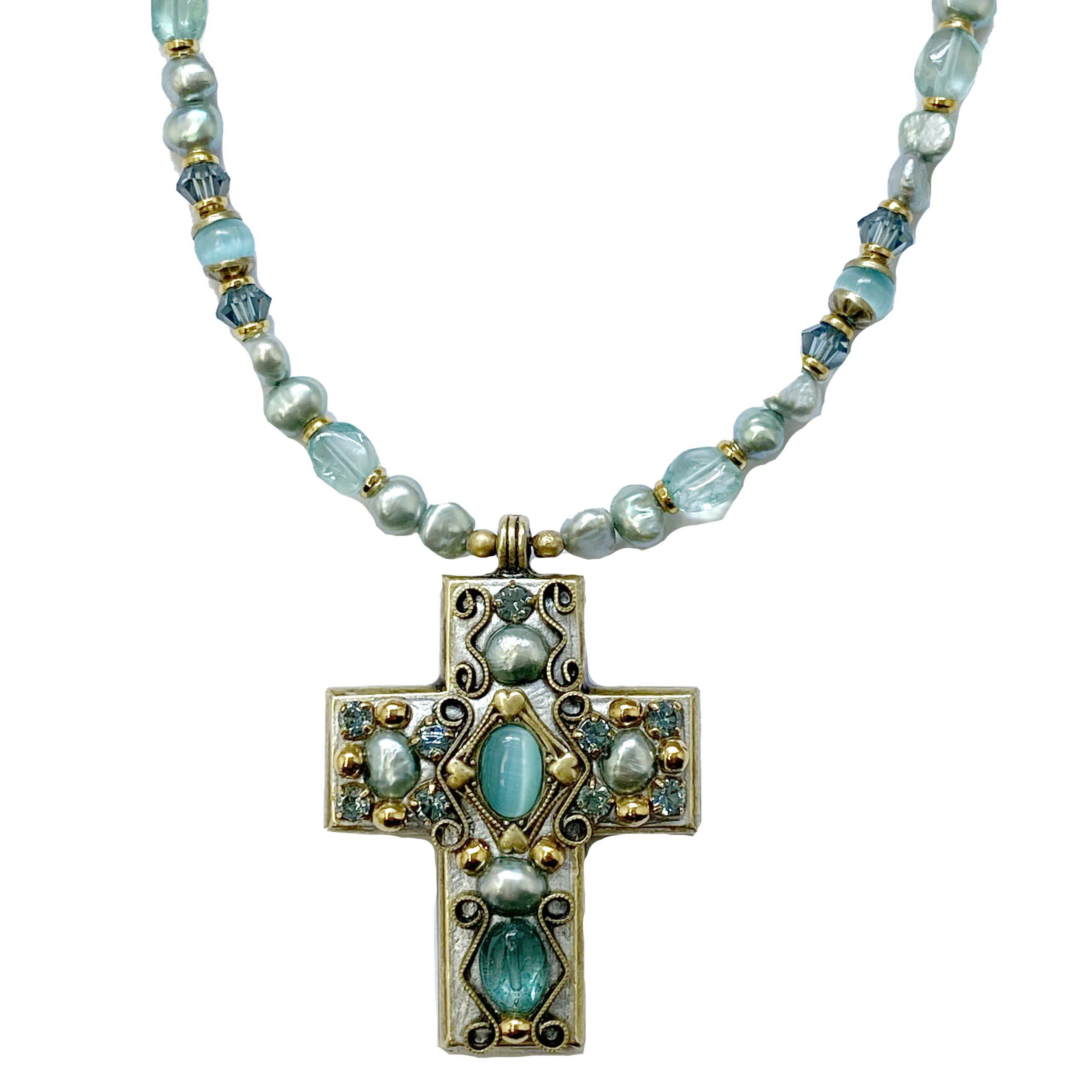 Pacific Opal Cross Necklace