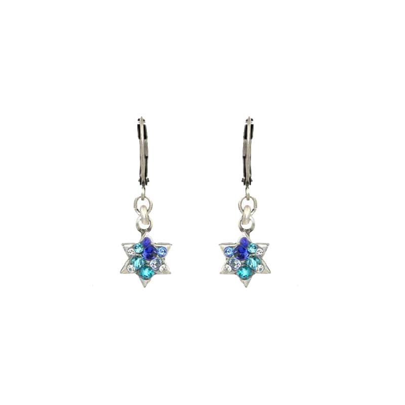 Small Blue Crystal Star of David Earrings