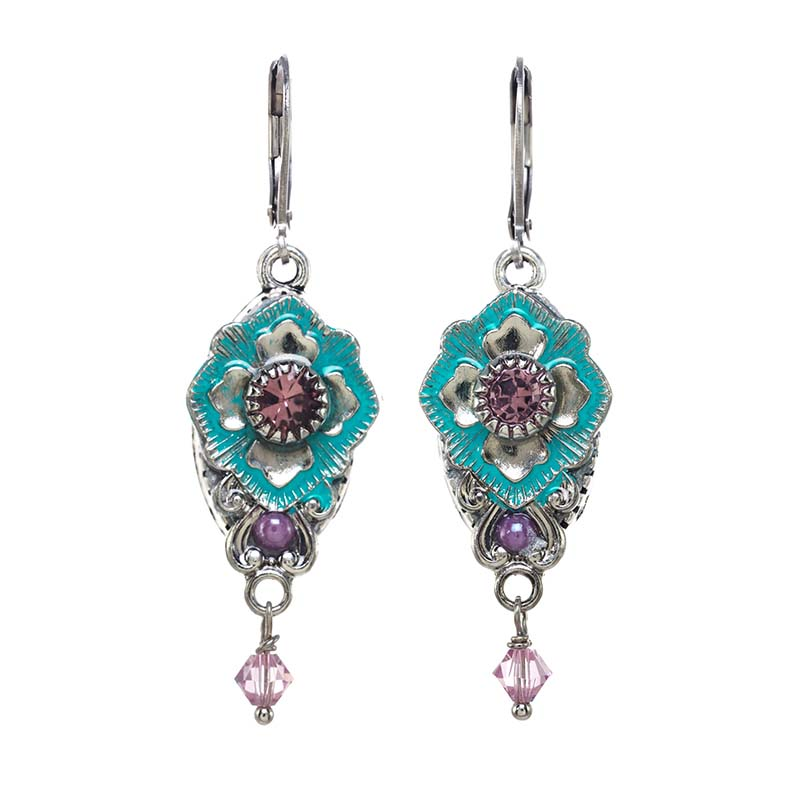 Aqua and Fuschia Diamond Earrings