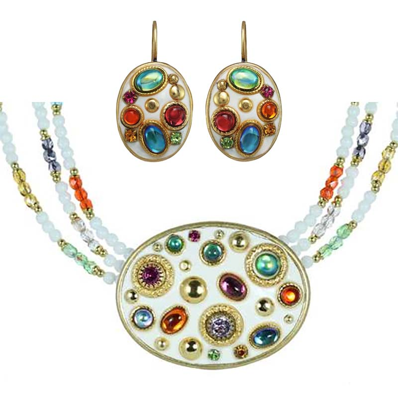 Aurora Oval Necklace and Earrings Set