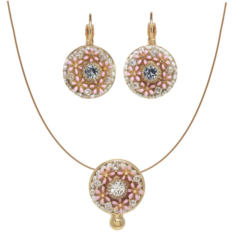 Dahlia Bloom Necklace and Earrings Set