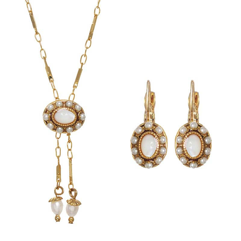 Antique Mother of Pearl Oval Necklace and Earrings Set