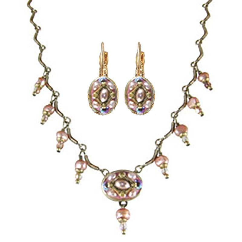 Pretty in Pink Oval Necklace and Earrings Set