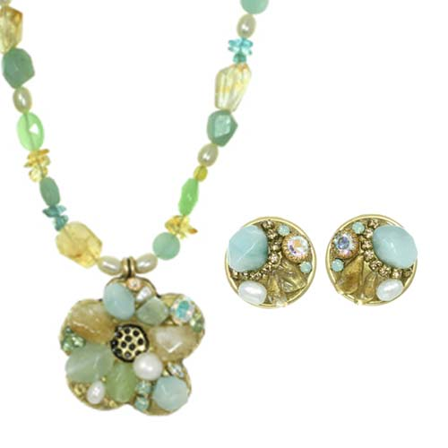 Green Amazonite and Pearl Necklace and Earrings Set