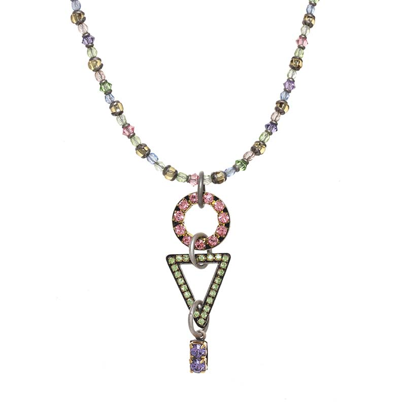 Pastel Crystal Geometric Necklace