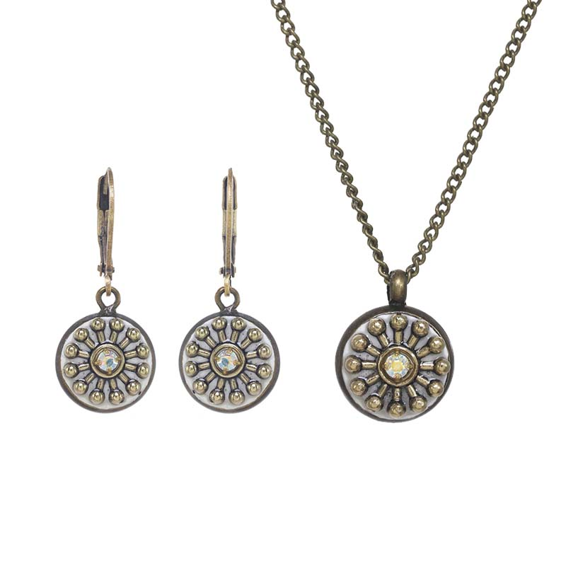 Beige Circle Eye Necklace and Earrings Set