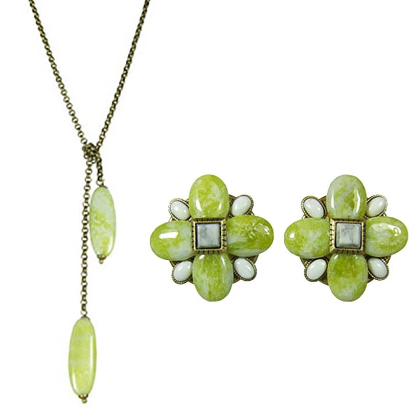 Key Lime Diamond Clip Earrings and Necklace Set