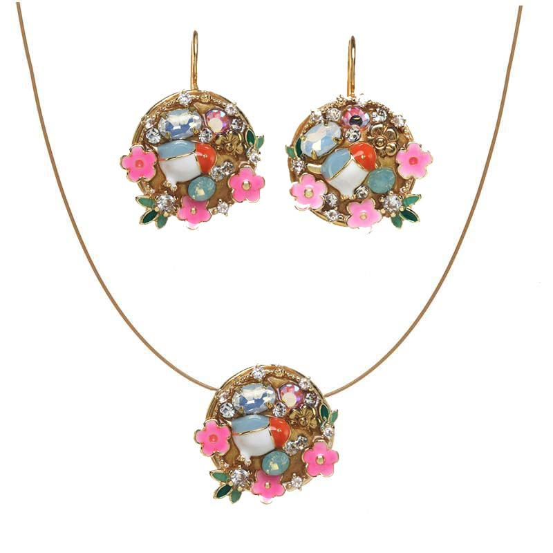 Spring Wreath Necklace and Earrings Set II