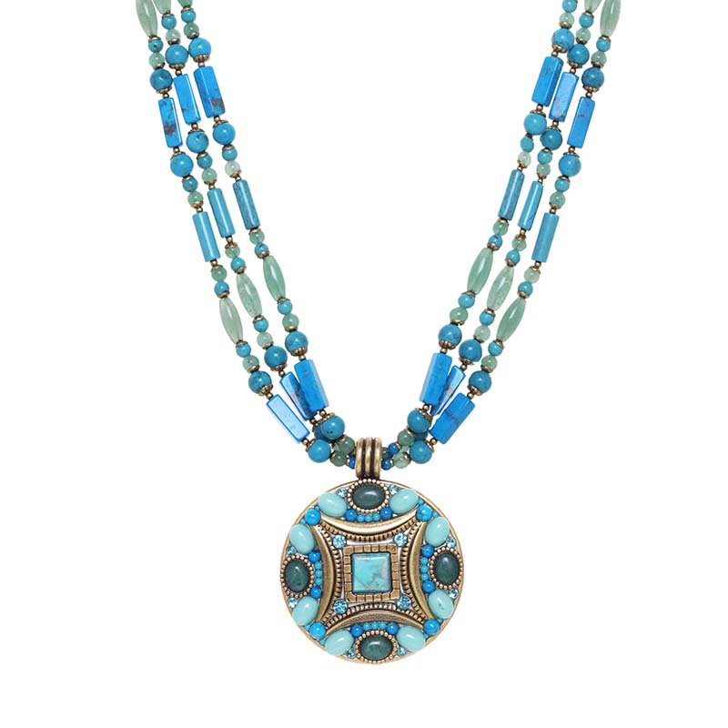 Nile Triple Beaded Medallion Necklace