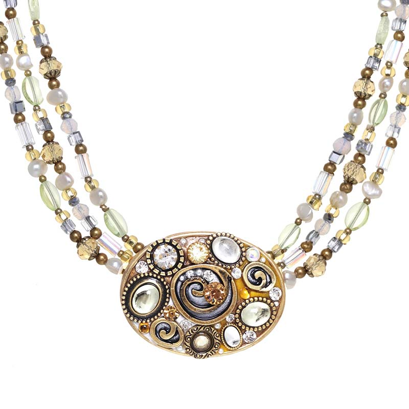 Champagne Oval Beaded Necklace