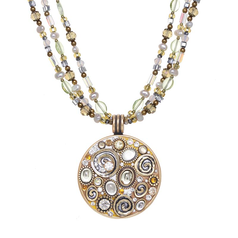 Champagne Large Circle Beaded Necklace