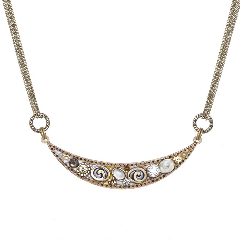 Champagne Thin Crescent Necklace