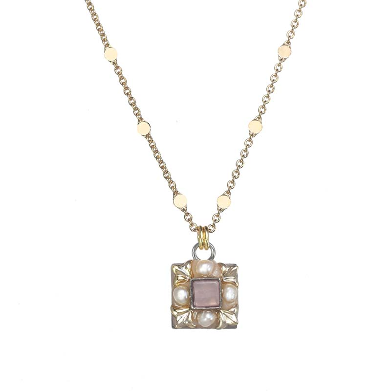 Rose Quartz Square Necklace