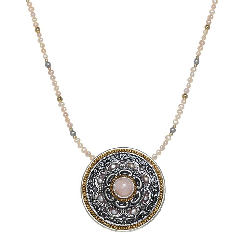 Rose Quartz Large Circle Necklace