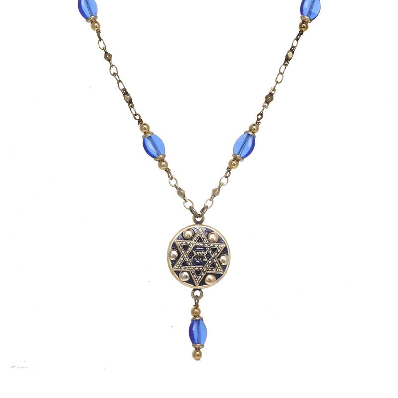 Blue Glass Star of David Circle Necklace