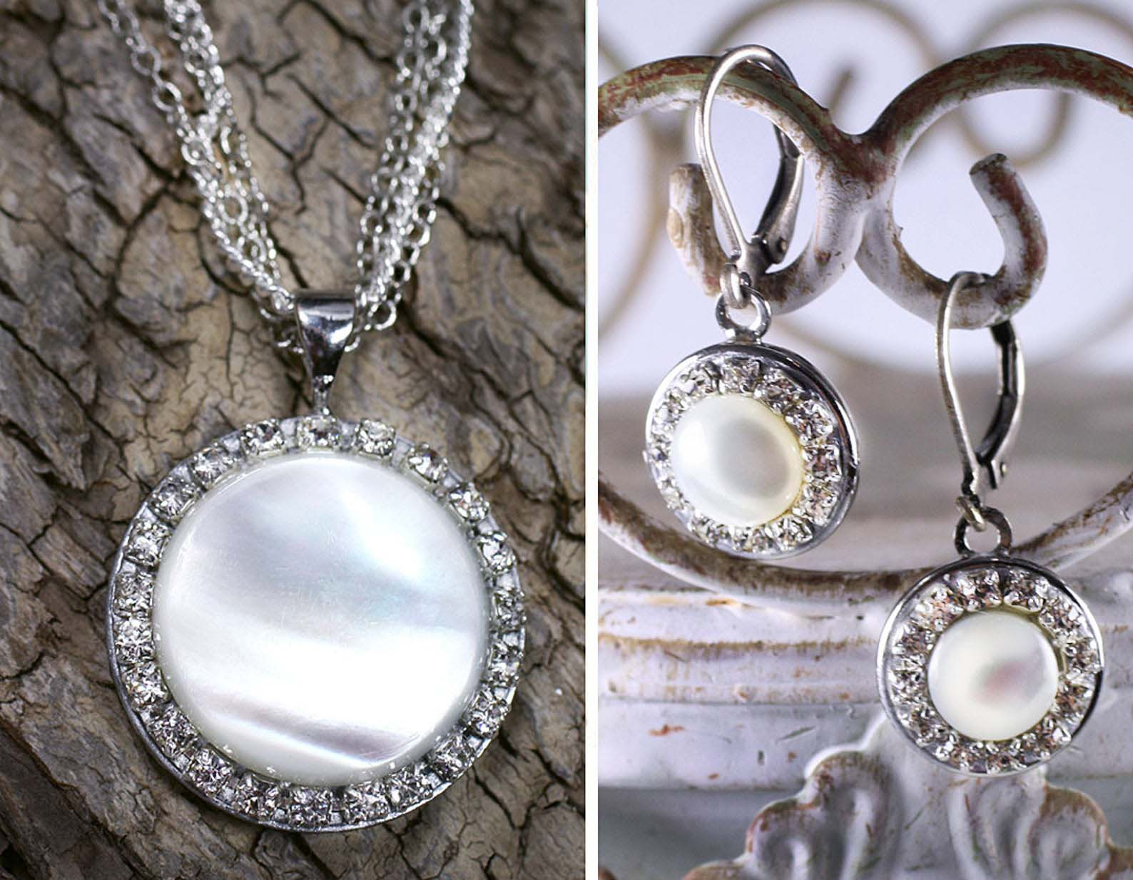 Illuminated Pearl Necklace and Earrings Set