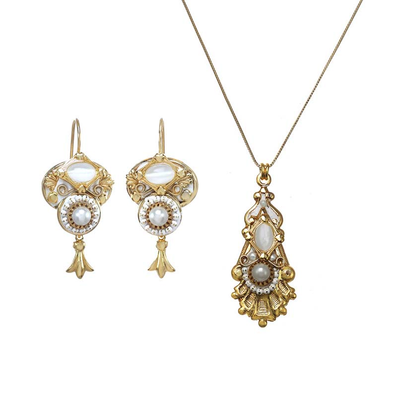 Cat's Eye and Pearl Necklace and Earrings Set