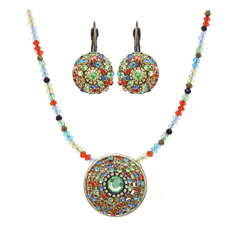 Crystal Pinwheel Necklace and Earrings Set