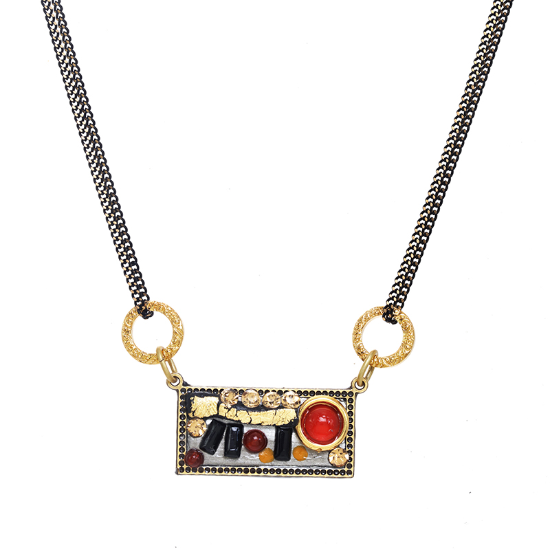 Abstract Horizontal Rectangle Necklace
