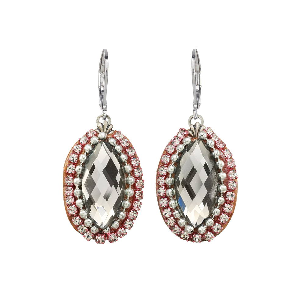Red and Silver Crystal Oval Earrings