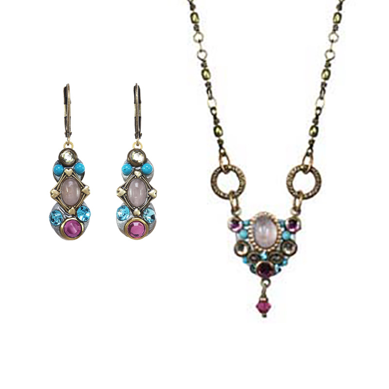 Rose and Aqua Necklace and Earrings Set