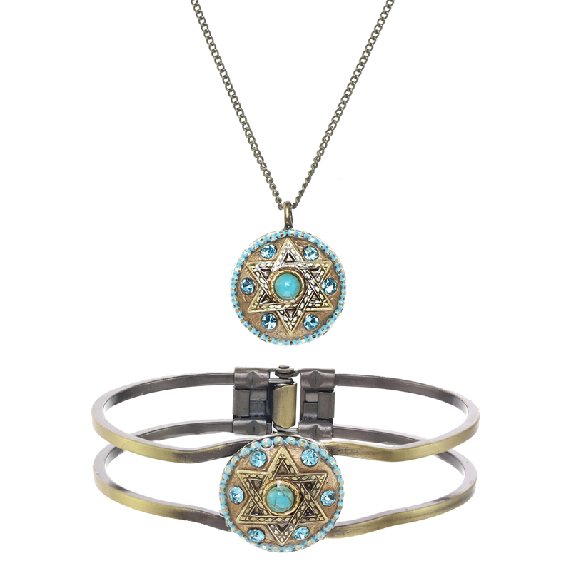 Turquoise Star of David Necklace and Bracelet Set
