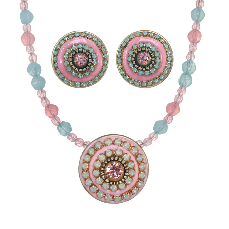 Rose Pinwheel Necklace and Post/Clip Earrings Set