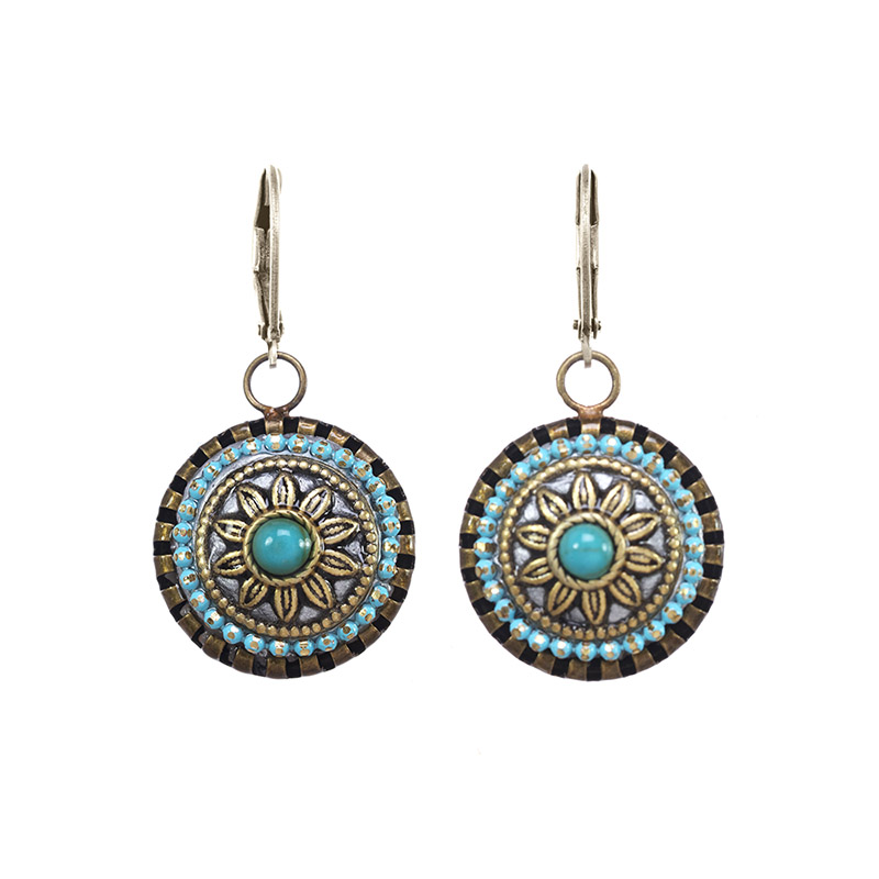 Turquoise Sunflower Circle Earrings
