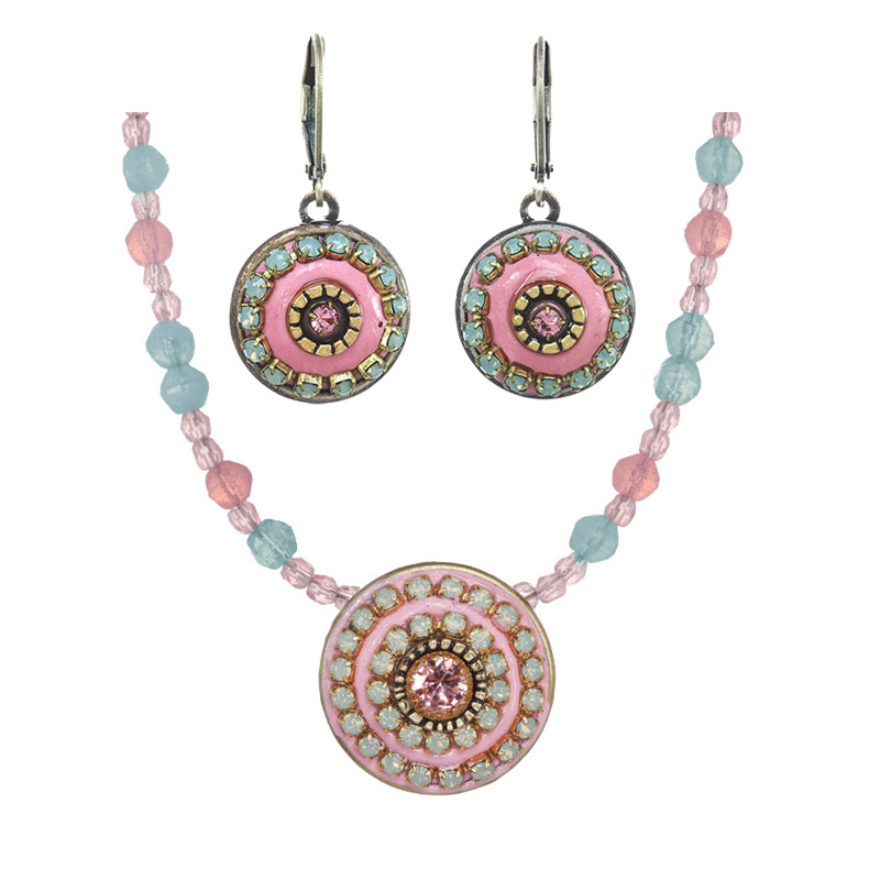 Rose Pinwheel Necklace and Lever Earrings Set