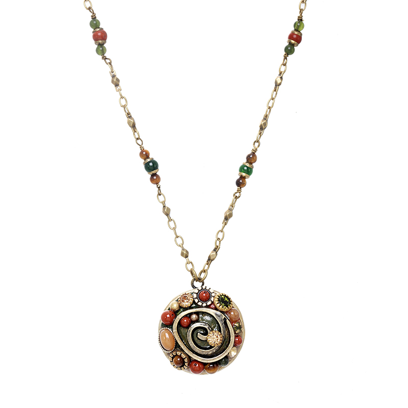 Evergreen Circle Beaded Necklace