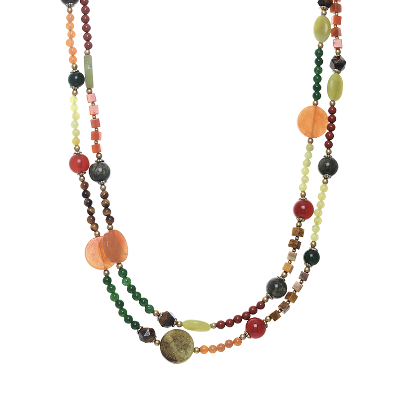 Evergreen Long Beaded Necklace