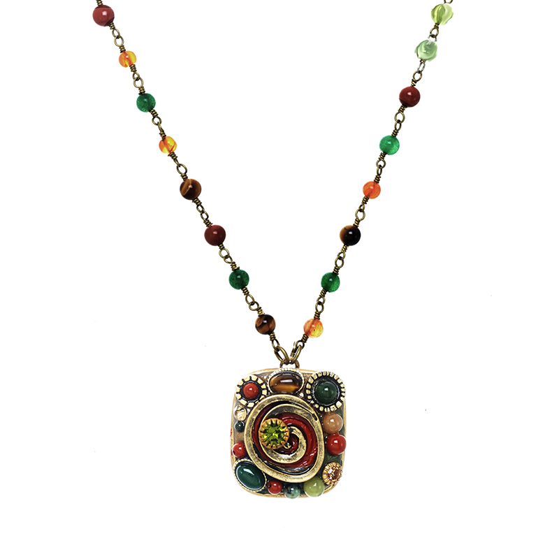 Evergreen Square Necklace