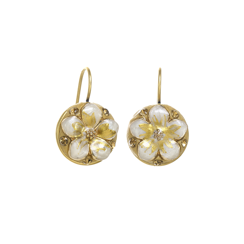 White and Gold Blossom Earrings