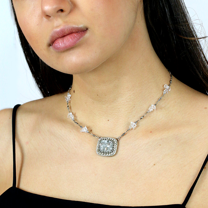 Icy Dreams Rectangle Necklace