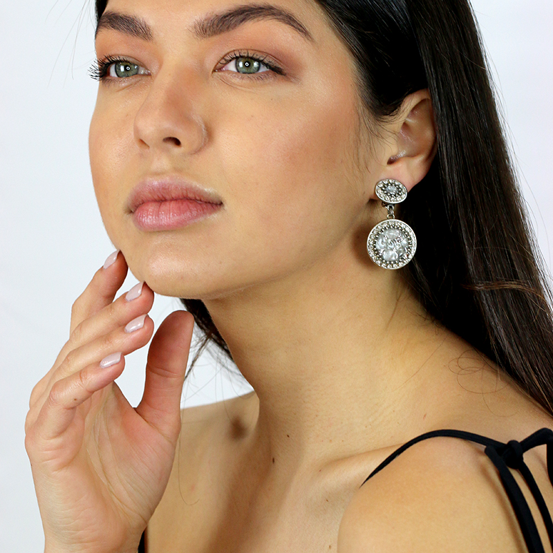 Icy Dreams Double Circle Clip Earrings