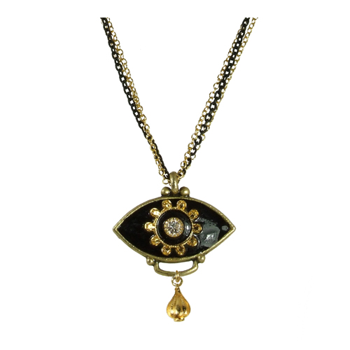 Black and Gold Minimal Eye Necklace