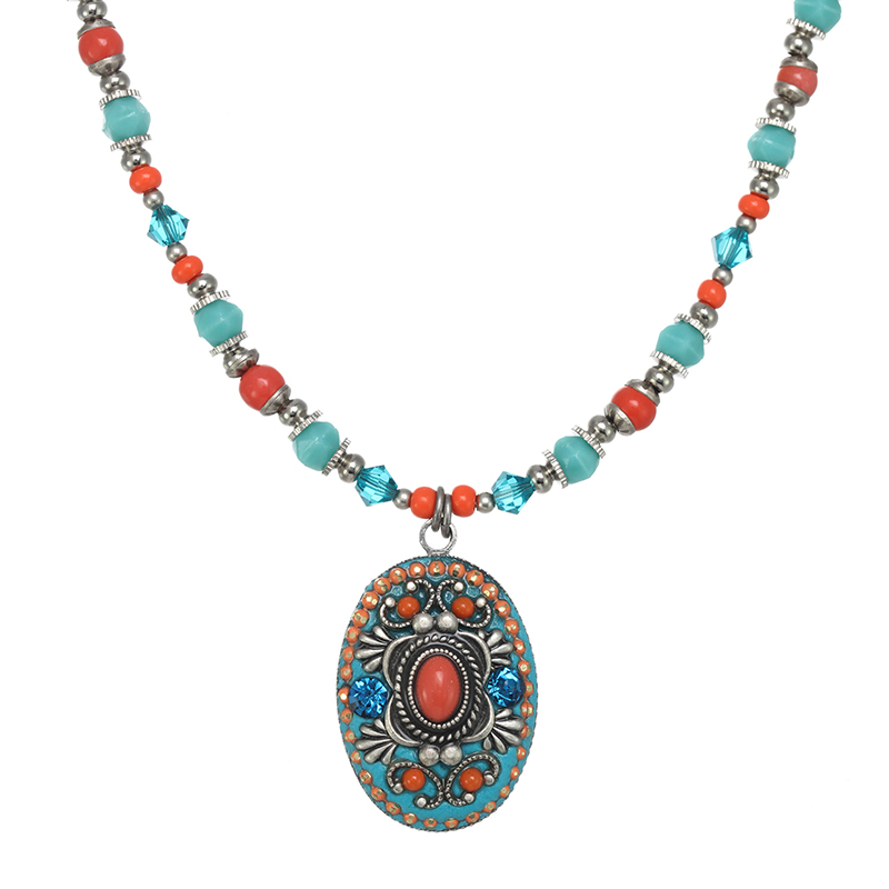 Aruba Oval Beaded Necklace