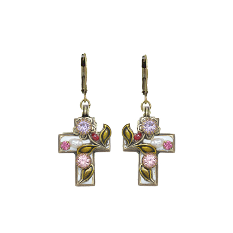 Pearl Blossom Cross Earrings