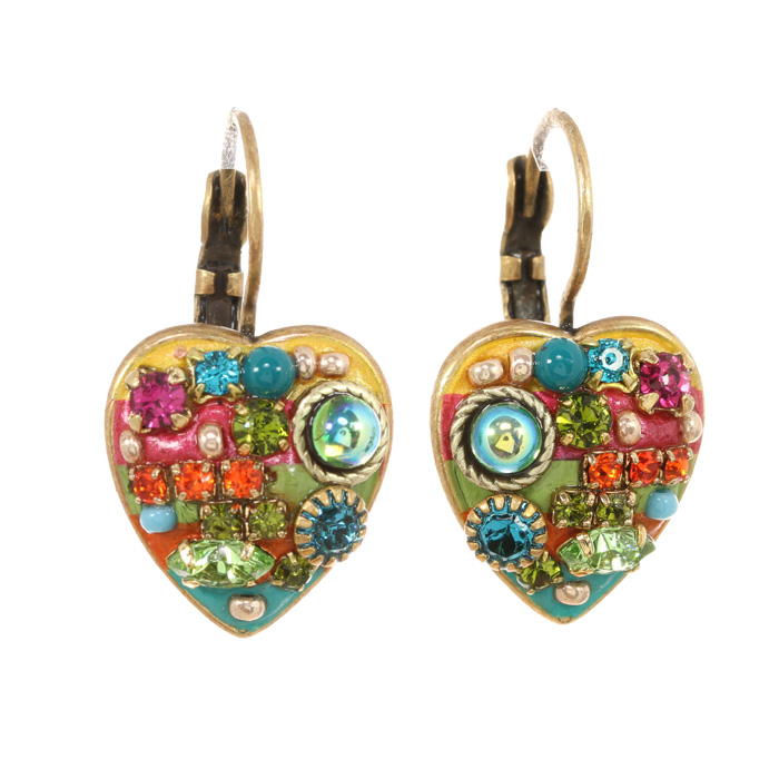 Multi Bright Lever Back Heart Earrings